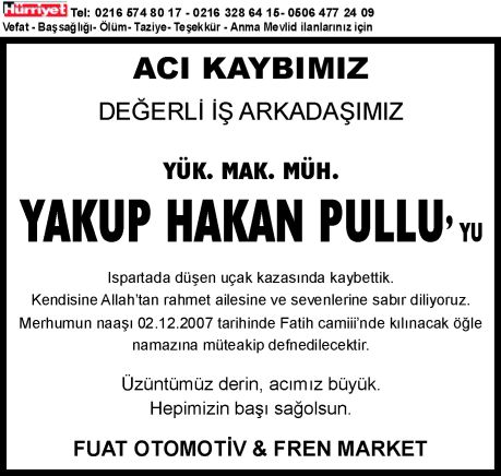 ACI KAYBIMIZ VEFAT LAN RNEK; ACI KAYBIMIZ 
